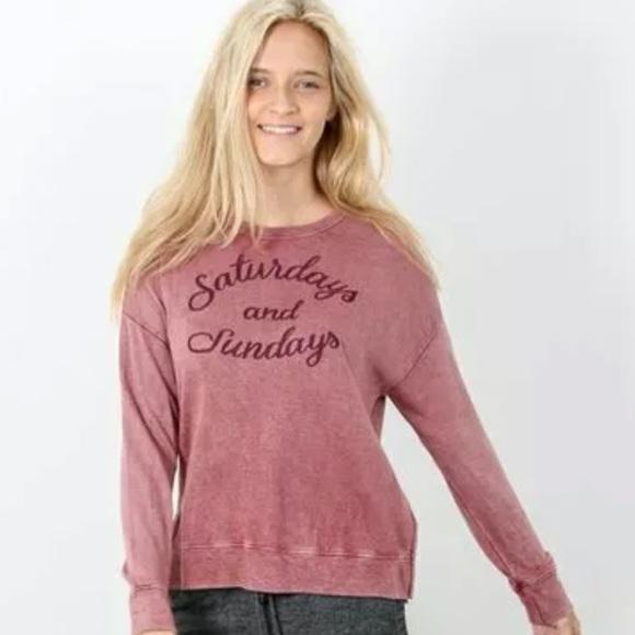 SUNDRY Womens High-Low Graphic Crewneck Top Pullover Sweatshirt